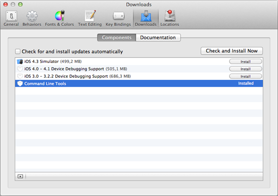 Screenshot of installing Command Line Tools in Xcode