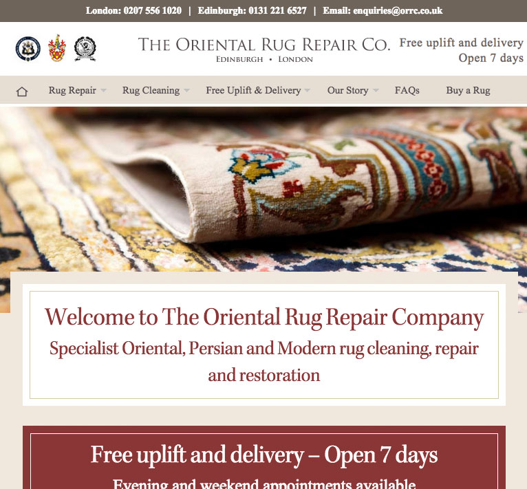 oriental rug cleaning and repair service website